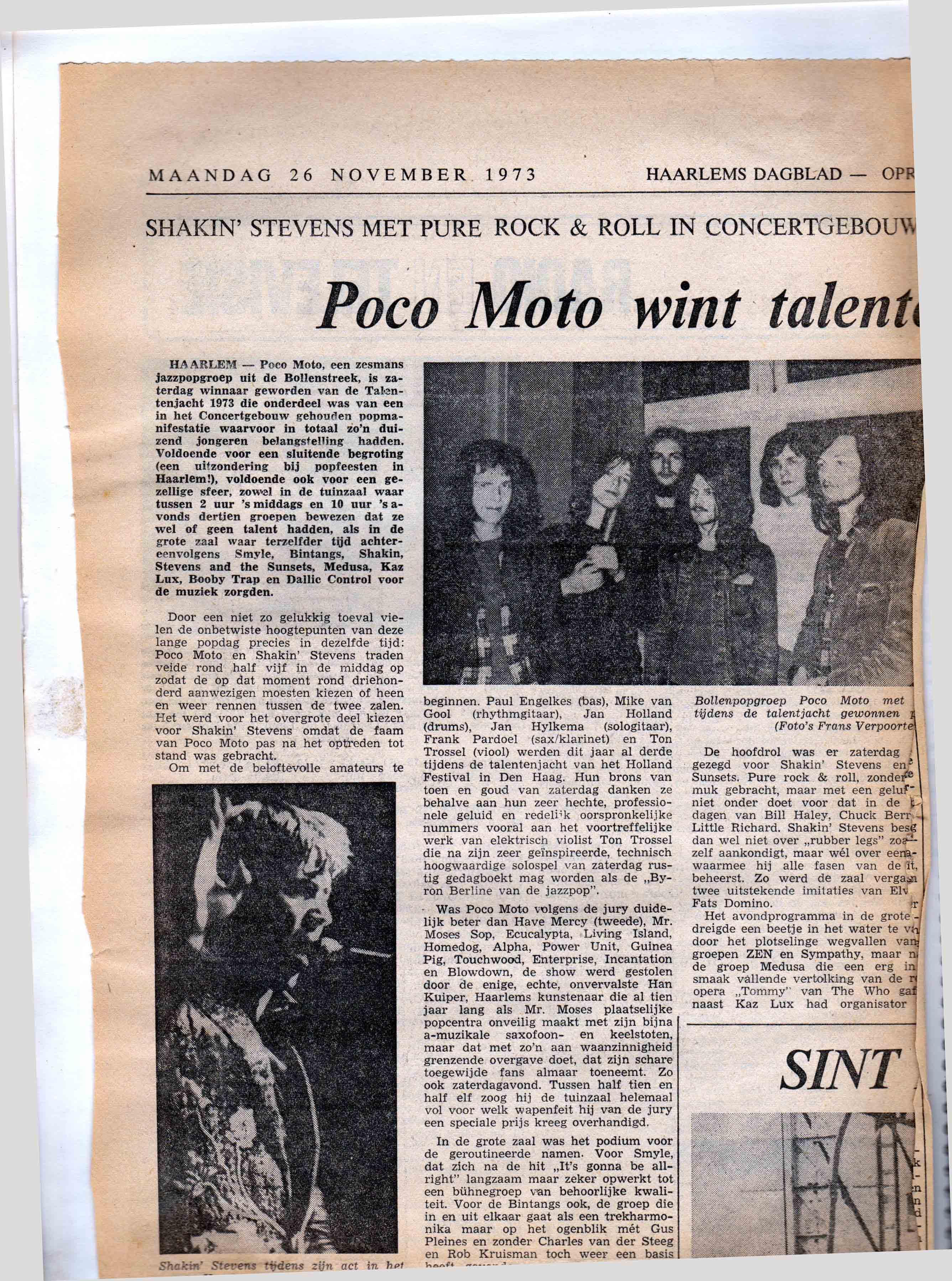 Haarlems Dagblad Poco Moto Winnaars talentenjacht Haarlem 1973